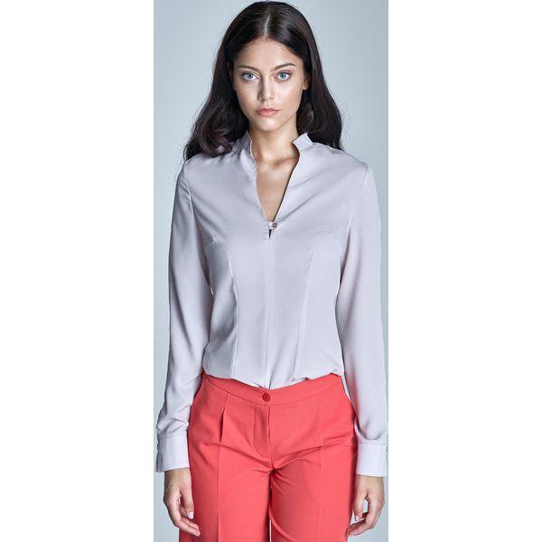 """b1e19681a5e2e1 Beżowa Elegancka Koszula z Dekoltem """"V"""" - Koszule damskie marki ..."""