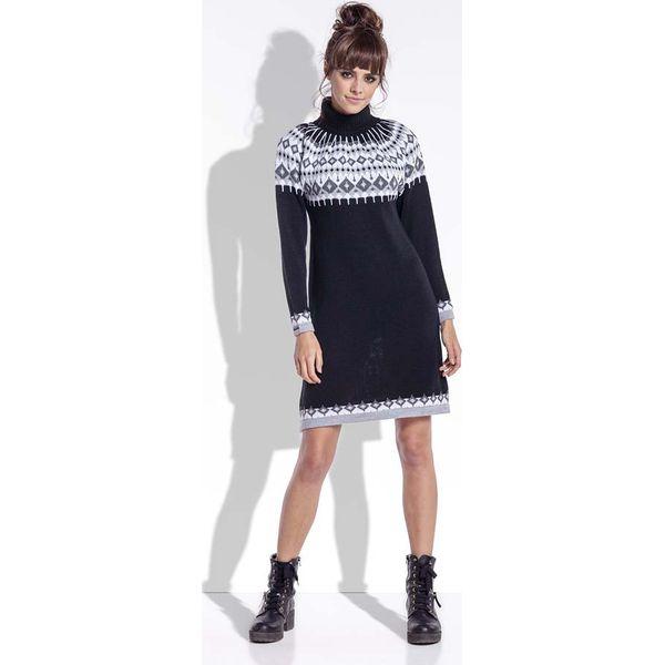 479d658bfa Czarna Ciepła Sukienka z Golfem w Norweskie Wzory - Sukienki damskie ...