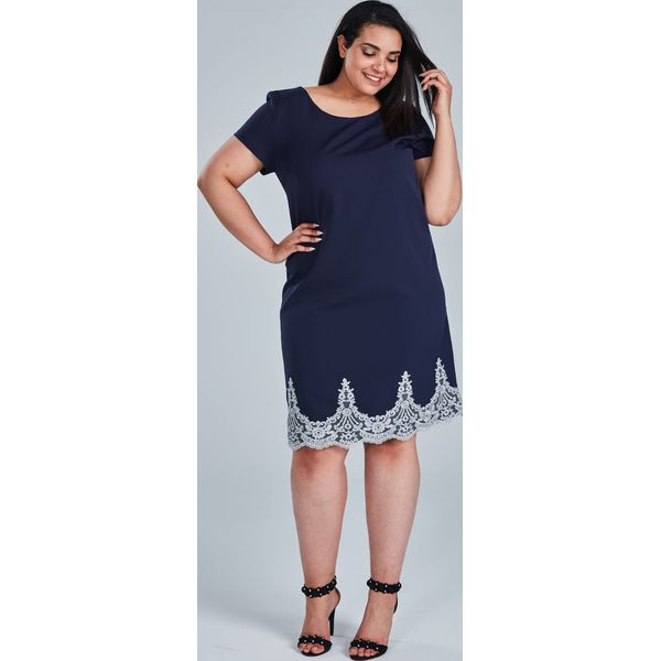959a7df9 Granatowa sukienka Balbina duże rozmiary OVERSIZE PLUS SIZE LATO