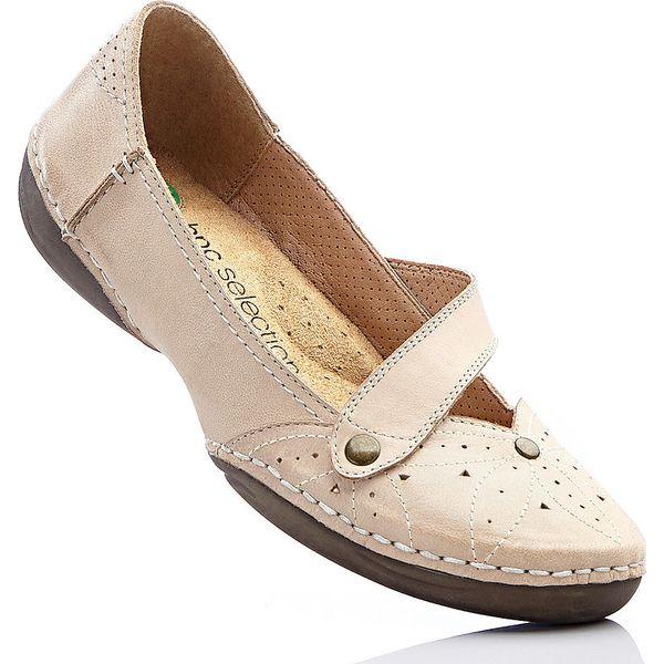 d2233f8a Wygodne baleriny skórzane bonprix piaskowy - Baleriny damskie marki ...