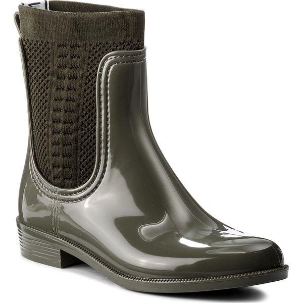 84e7e34440402 Kalosze TOMMY HILFIGER - Tommy Knit Rain Boot FW0FW02940 Dusty Olive ...