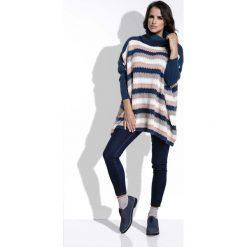 5cc062525f43 Granatowy Sweter Oversizowy w Paski z Golfem. Golfy damskie marki Molly.pl.  Za