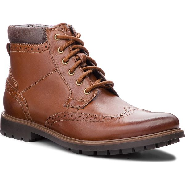 Kozaki CLARKS Curington Rise 261368547 Tan Leather