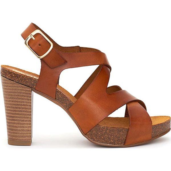 3ee606dbc66501 Skórzane sandały w kolorze jasnobrązowym - Sandały damskie Abril ...