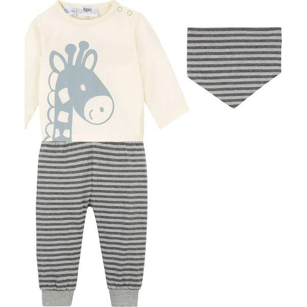 Shirt niemowlęcy + spodnie + chusta trójkątna (3 części), bawełna organiczna bonprix kremowo szary melanż antracytowy melanż
