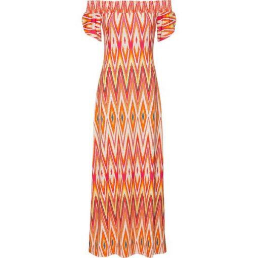 7e8f3927d4 Sukienka wzorzysta bonprix czerwono-żółty wzorzysty - Sukienki ...