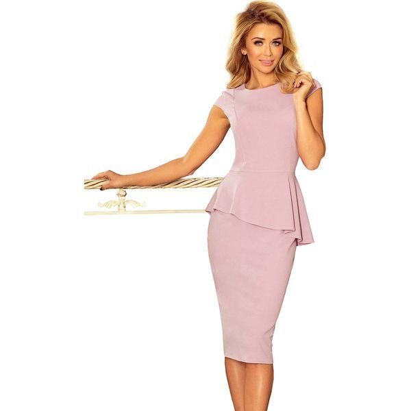 2d4a0a0b564fc Różowa Elegancka Ołówkowa Sukienka Midi z Asymetryczną Baskinką ...