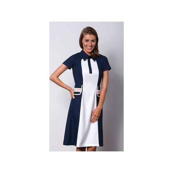 b87831cdbf Granatowa sukienka z kołnierzykiem POLO I - Sukienki damskie marki ...