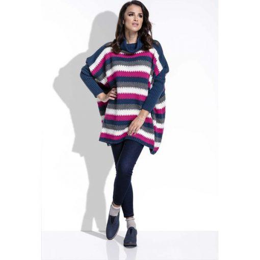 ab286cdecb3b Amarantowy Sweter Oversizowy w Paski z Golfem - Golfy damskie marki ...