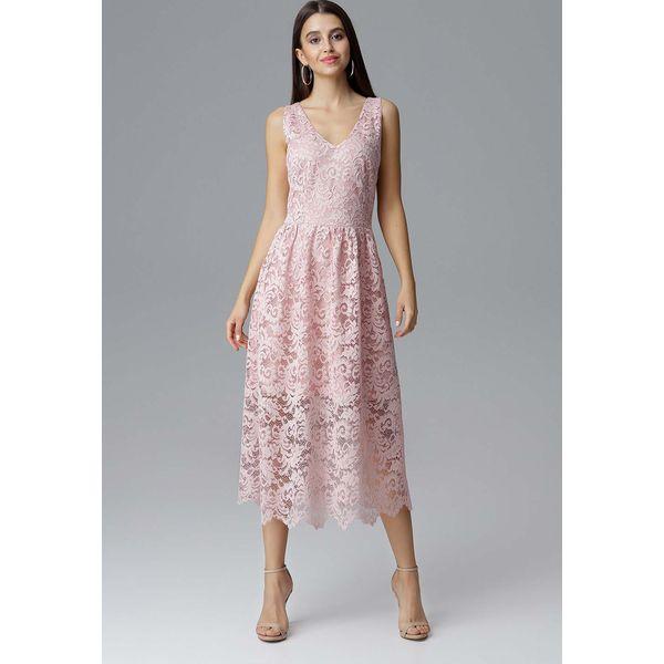 b76e07f8ab7f Różowa Rozkloszowana Sukienka Koronkowa na Szerokich Ramiączkach ...