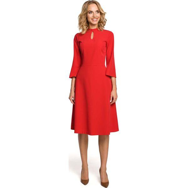 c73de8f19c Czerwona Sukienka Wizytowa z Rozkloszowanymi Rękawami - Sukienki ...