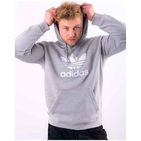 252359775 Adidas Bluza adidas TREFOIL HOODIE MEDIUM GREY HEATHER M - Bluzy ...