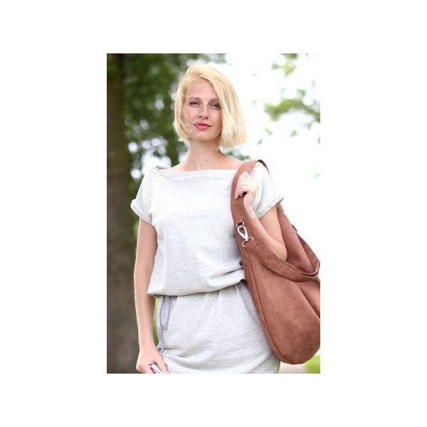 8257977e948a6 Jasno brązowa torba worek z zamszu ekologicznego - Torebki dziecięce ...