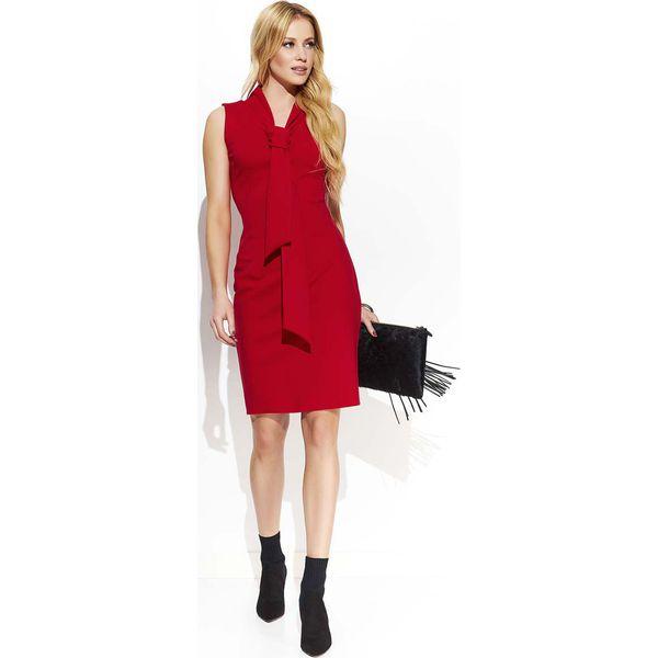 a4bc8d7ad3 Czerwona Elegancka Ołówkowa Sukienka z Krawatką - Sukienki damskie ...
