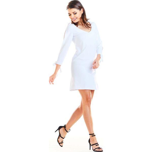 6ecf630632 Biała Trapezowa Mini Sukienka z Kokardą przy Mankietach - Sukienki ...