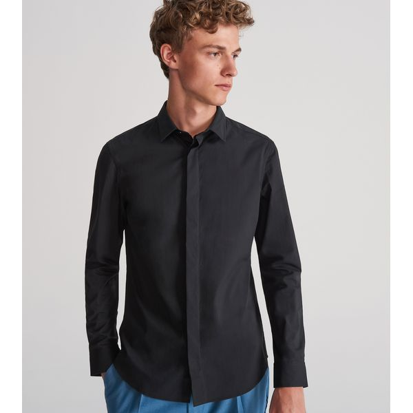 online store hot product united kingdom Elegancka koszula super slim - Czarny