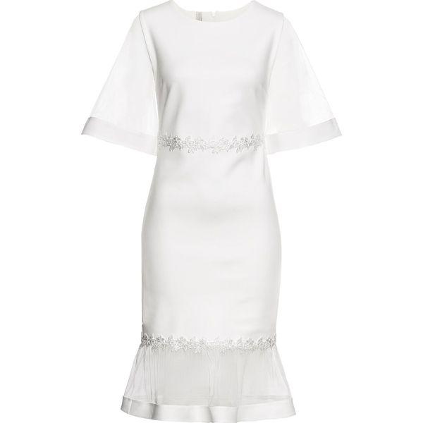 edaac2d5ff Sukienka z siatkowymi wstawkami i koronką bonprix biały - Sukienki ...