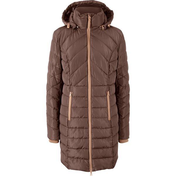 Długa kurtka pikowana, ocieplana bonprix wielbłądzia wełna brązowy