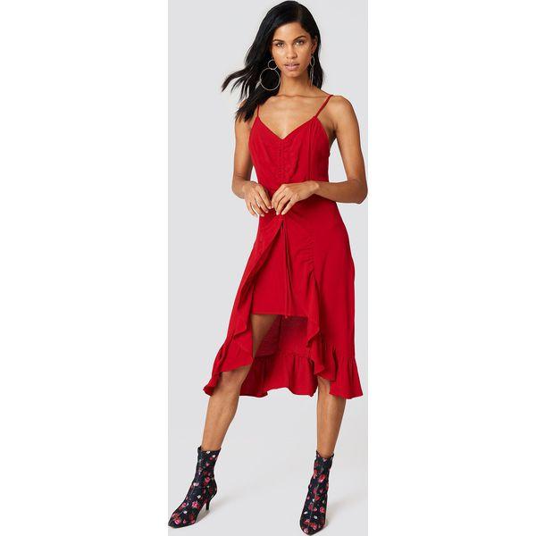 ad6fd159 NA-KD Boho Sukienka midi z marszczeniem z przodu - Red