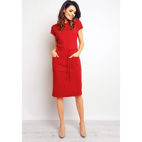 36e2046bc8 Czerwona Casualowa Sukienka z Kieszeniami i Wiązaniem - Sukienki ...