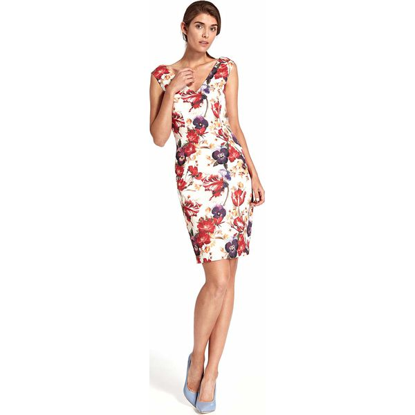 8ac27558aa Kwiatowa Dopasowana Sukienka z Dekoltem na Plecach - Sukienki ...