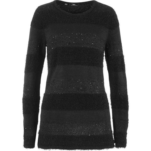 Tylko na zewnątrz Sweter z cekinami bonprix czarny - Swetry klasyczne damskie marki WD84