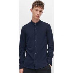 Dzianinowa koszula ze stójką Niebieski Niebieskie  Y7FcI