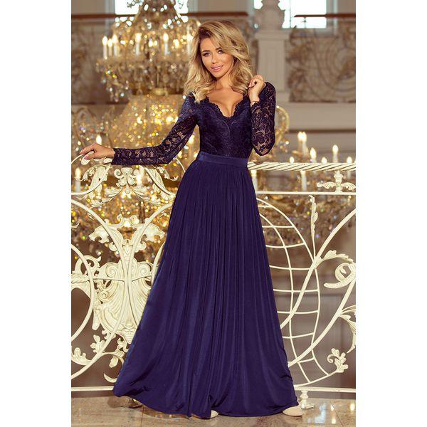 bb4b16a65cee48 Charlotte. Wieczorowa sukienka maxi z głębokim dekoltem oraz długim ...
