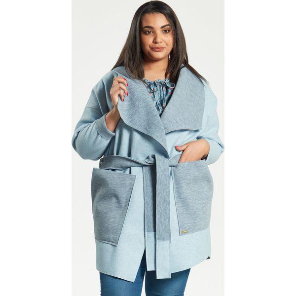 2996206b45 Błękitny płaszcz kardigan Klara duże rozmiary dla puszystych PLUS ...