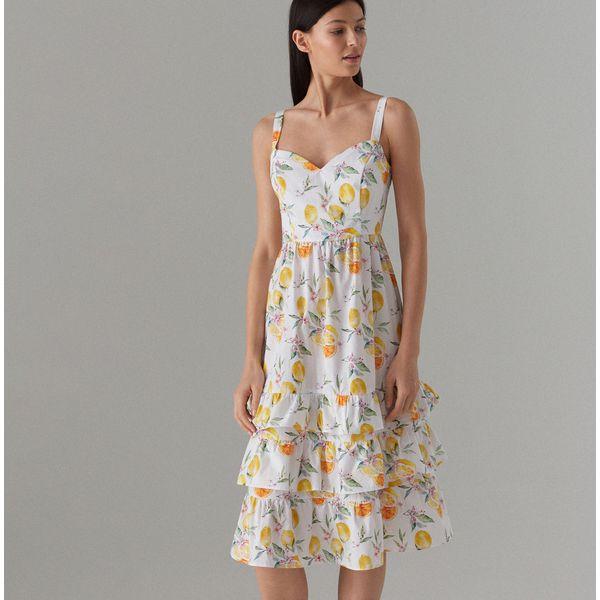 3d5658a4f7 Bawełniana sukienka z falbanami - Biały - Sukienki damskie marki ...