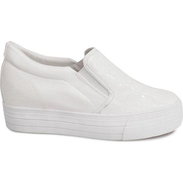 Białe Lakierowane Trampki Na Koturnie KB 125 Biały