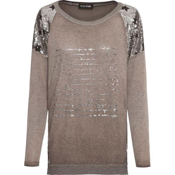 Rewelacyjny Sweter z cekinami bonprix brązowy - Swetry klasyczne damskie marki FS97