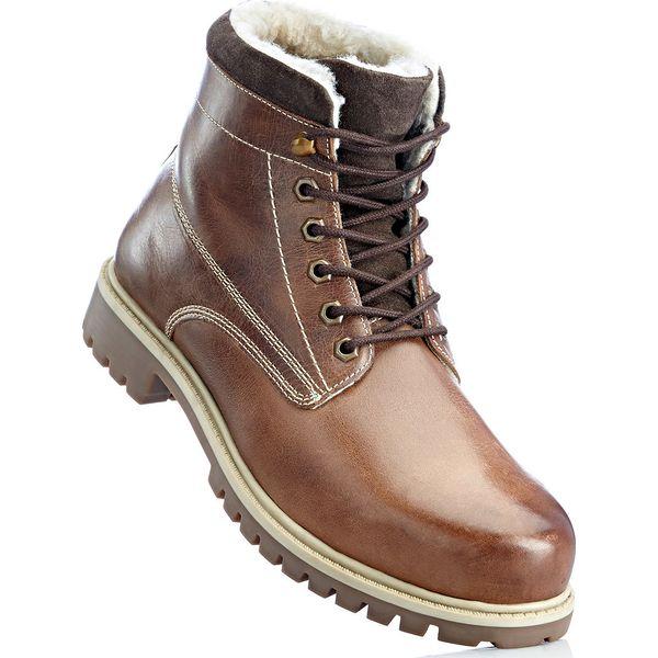 898a6f0fb62ab Kozaki skórzane bonprix brązowy - Buty zimowe męskie marki bonprix ...