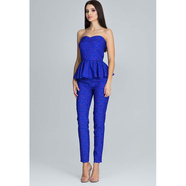 8d46a5d738 Niebieski Elegancki Komplet Gorsetowa Bluzka + Długie Spodnie ...