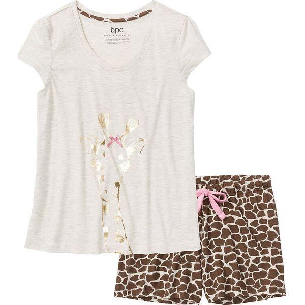 732fb6444459e6 Piżama z krótkimi spodniami bonprix naturalny melanż z nadrukiem ...