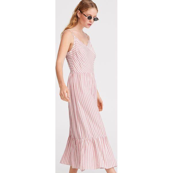 18bb1a92 Sukienka midi w paski - Różowy