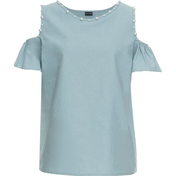 eae860e07c Bluzka lniana z wycięciami na ramionach i perełkami bonprix ...