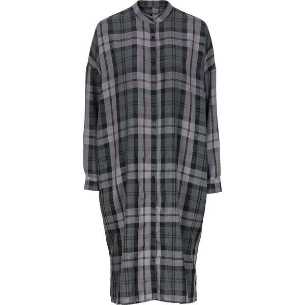 774f2dc5f5 Sukienka koszulowa maxi bonprix ciemnoszaro-biel wełny w kratę ...