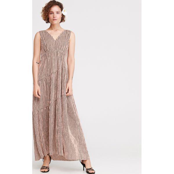 dde81612ffeb59 Długa sukienka w paski - Wielobarwny - Szare sukienki damskie ...