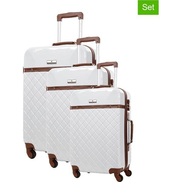 528e0cebe34b0 Zestaw walizek w kolorze białym - 3 szt. - Walizki marki Platinium ...