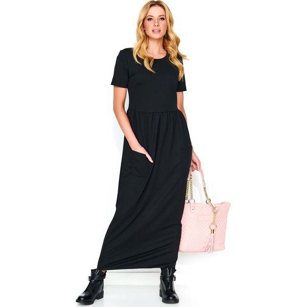 9a45f6f31c Czarna Długa Dresowa Sukienka z Kieszeniami - Sukienki damskie marki ...