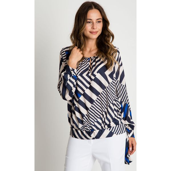 0205768680cee0 Elegancka bluzka z długim rękawem oraz szarfą BIALCON - Bluzki ...