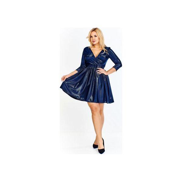 0db2081a7d Sukienka z połyskującą nitką o dopasowanej górze z kopertowym ...