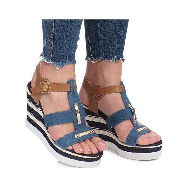 Sandały Damskie Na Koturnie Lniane Granatowe Tammaris