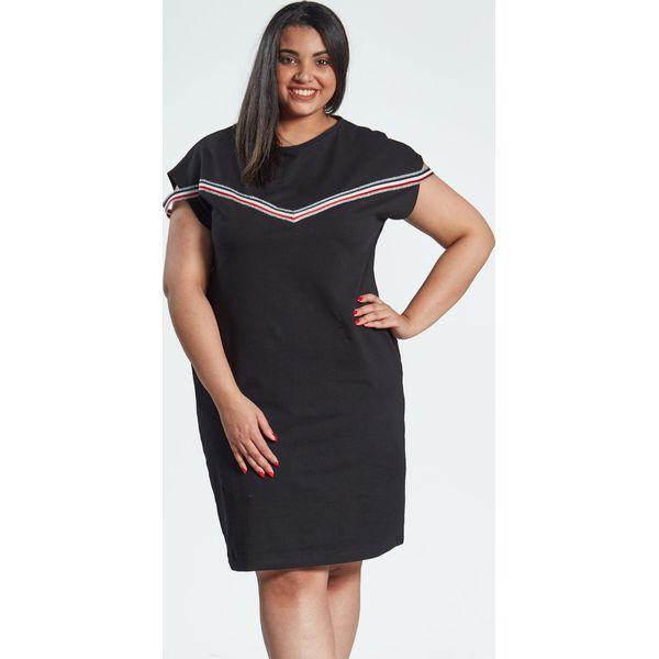 7b590dfe66 Czarna sukienka Jula z lampasami duże rozmiary OVERSIZE PLUS SIZE ...