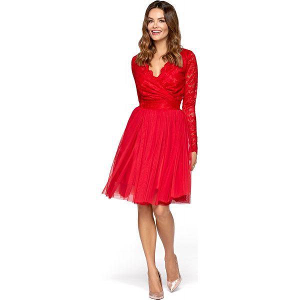 f4a8de38 Czerwona Wieczorowa Sukienka z Tiulu i Koronki