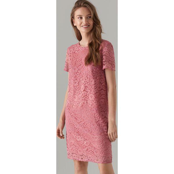 b767fe07e8 Koronkowa sukienka z krótkimi rękawami - Różowy - Sukienki damskie ...