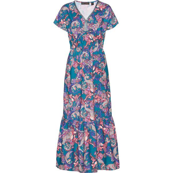 8f899df6c6 Sukienka z wiskozy bonprix niebieskozielony z nadrukiem - Sukienki ...
