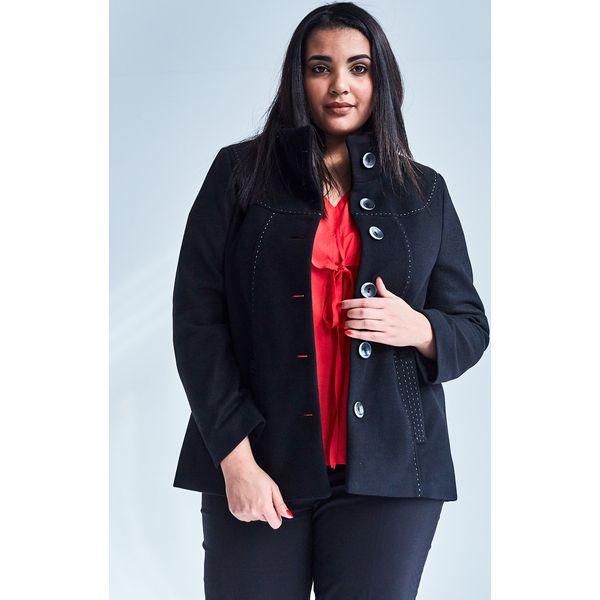 9eccaa59f2 Czarna elegancka kurtka płaszcz Vera OVERSIZE PLUS SIZE WIOSNA ...