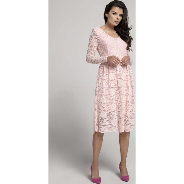 ee3f20dd Jasnoróżowa Wizytowa Rozkloszowana Sukienka z Koronki